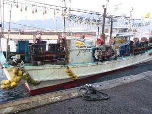 イカ釣り漁船。夜釣りでイカを寄せ付ける電球が連なっている。SA2-1578のSAは佐賀(Saga)県の船ということ。
